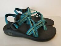 Women's Chaco ZX/2 Yampa River blue & green ankle strap toe loop sandals Size 10