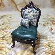Pat Tyler Dollhouse Miniature Side Chair Seat Chaise Green Hunt p414