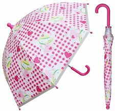 "32"" Arc Children Pink Fairy Print Plastic Umbrella - RainStoppers Rain/Sun"