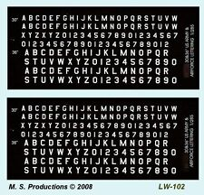 1/76 to 1/300 FOW Decals LW-102 Letters & Numbers White