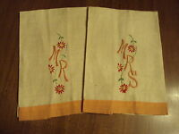"""Fabulous NEW  Vintage Embroidered  Linen """"Mr. and Mrs"""" Guest Towels"""