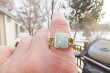 Peridot Jade Silver Ring, Beautiful