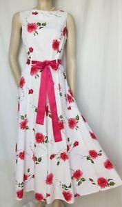 Laura Ashley Sommerkleid 40 Rosen Blumen weiß rosa rot grün Baumwolle lang