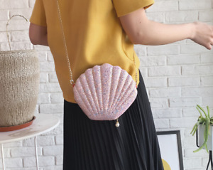 New Shining Crossbody Bag for Women Seashell Shoulder Bags Tote Bag with Chain