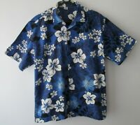 "Vintage Blue Tropical Hawaiian Cotton Shirt 47""-119.5cm L (882H)"