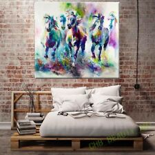 ZOPT307 five multi-color animal horses hand painted oil painting art canvas