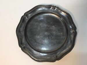 "Antique England London Pewter Plate, 8 7/8"" Diameter, Hallmark"