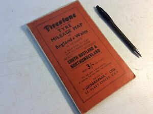 Old Vintage Cloth Firestone Tyre Mileage map. South Scotland & Northumberland.
