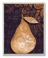The Stupell Home Decor Collection Damask Gold Pear Kitchen Wall Plaque