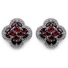 925 sterling Silver Natural Faceted Garnet Gemstone Men's Cufflinks