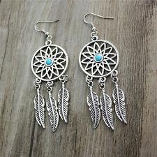 Dream Catcher Turquoise Earrings Bead Hook Silver Dangle Drop Feather Pierced