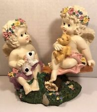 """Cherubs Angels Ceramic Music Box """"Whistle While You Work"""" Song"""