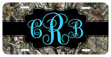 Personalized Monogrammed License Plate Auto Car Tag Camo Camouflage Turquoise