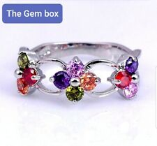Ladies Sterling Silver 925 Multi Gemstone Ring size T.5 New in gift pouch.