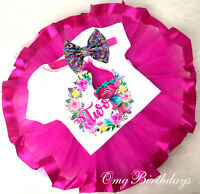 Trolls Poppy Pink Tutu Shirt Headband 2nd Baby First Birthday Girl Outfit Party