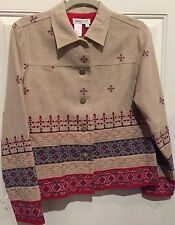 Coldwater Creek Jacket Linen Blend Floral Embroidered Southwestern Lined NWT S