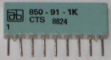 1kohm x 8 Commoned Resistor Network - 9 PIN SIL - AB 850-91-1K