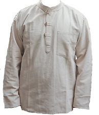 Handloom Vintage Grandad Hemp Cotton Collarless Long Sleeve Men's Shirt Kurta