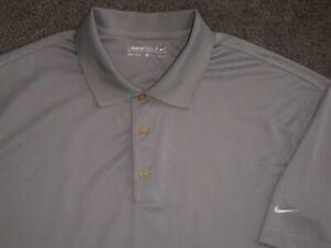 Men's NWOT NIKE GOLF Dri-Fit Polo XL GRAY w/White Swoosh ~ 100% Polyester