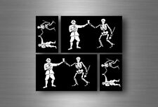 4x autocollant sticker voiture jolly roger drapeau pirate biker jack rackam r2