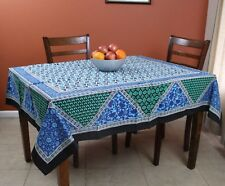 Cotton Floral Geometric Print Tablecloth Square 70x70 inches Blue Green Black