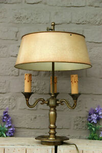 French bouillotte Bronze 3 arms table lamp metal shade 1950