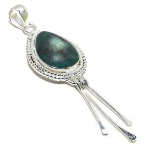"Tibetan Turquoise Gemstone Ethnic Handmade Silver Jewelry Pendant 3.3"" PR3128"
