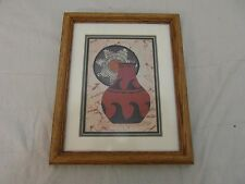 Signed Numbered D. Smith 94/500 Red Pottery Painting Framed Southwest Art  31932