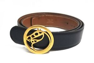 Authentic Hermes Gold Plated Buckle Men's Belt Black Size 90 Pre-owned(J)