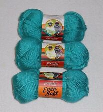 Premier Ever Soft Yarn Lot Of 3 Skeins (Dark Teal #70-20) 3 oz.