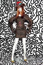 KEITH HARING Patricia Field SNAKE PRINT Tight Sexy Dress Black M Members16