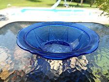 """COBALT BLUE ROYAL LACE 10"""" ROUND BERRY BOWL  HAZEL ATLAS DEPRESSION GLASS 1930'S"""