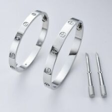 Men Women Stainless Steel Love Forever Screw Bracelet Bangle With Screwdriver AU