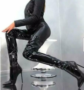Womens Sexy Occident Patent leather High Heels Pointed Toes Tigh Over Knee Boots
