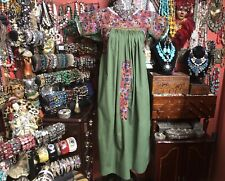Absolutely Beautiful Vintage Olive Green Oaxacan Mexican Embroidered Dress S/M