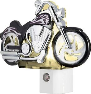 GE 10904 LED Motorcycle Night Light, Light Sensing, Auto On/Off, Plug-In,
