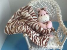 Baby Starters Pink Zebra Plush Security Blanket Lovey Rattle Baby Toy - EUC