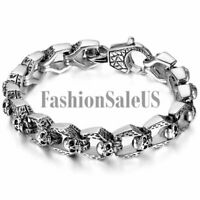Men's Biker Gothic Vintage Finishing Stainless Steel Skull Bracelet Chain 8.5""