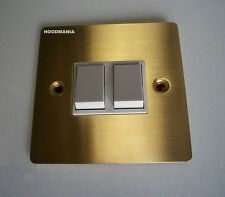 Brushed Brass Victorian Gold Double Light Switch Flat Plate 2 Gang 2 Way DEC0156