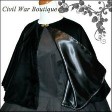 1800's Civil War Victorian Black Velvet Cape Cloak Beautiful Made in USA