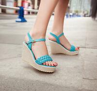 Womens Shoes Wedge HIgh Heels Platform Open Toe College Sandas UK Size