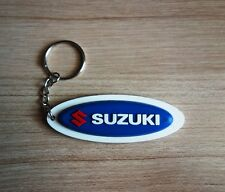 SUZUKI Keychain Rubber Blue White Keyring Motorcycle Car Collectible Gift New