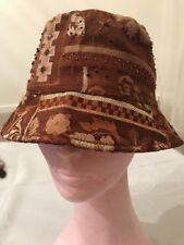 Vintage comfortable brown head cover hat embellished w/ beads soft cotton lining