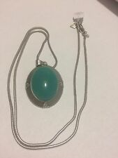 Lia Sophia VERGE Teal Glass Cabochon Pendant Necklace w/ Cut Crystals