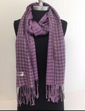 Lady Women Soft Scarf Wrap Shawl Plaid Cozy Checked Pashmina Silk Lavender #gtc