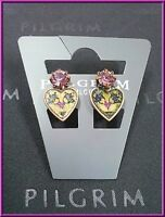NEW PILGRIM GOLD EARRINGS PURPLE CRYSTALS ENAMEL HEART CLIP ON HANDMADE VINTAGE