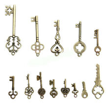 Vintage Skeleton OLD LOCK Keys Charm Mix Set in Antique Bronze Pack of 13pcs