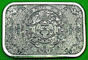 "Belt Buckle ""AZTEC CALENDAR"" Fit 4 cm Wide Belt, Custom Made, DIY, Metal Casting"