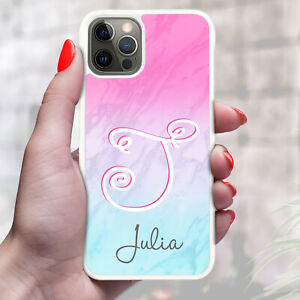 Personalised Marble Phone Case Cover For Apple Samsung Initial Name - Ref Y16