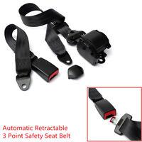 1X Auto Car 3 Point Seat Lap Belt Set Adjustable Retractable Diagonal Belt Nylon